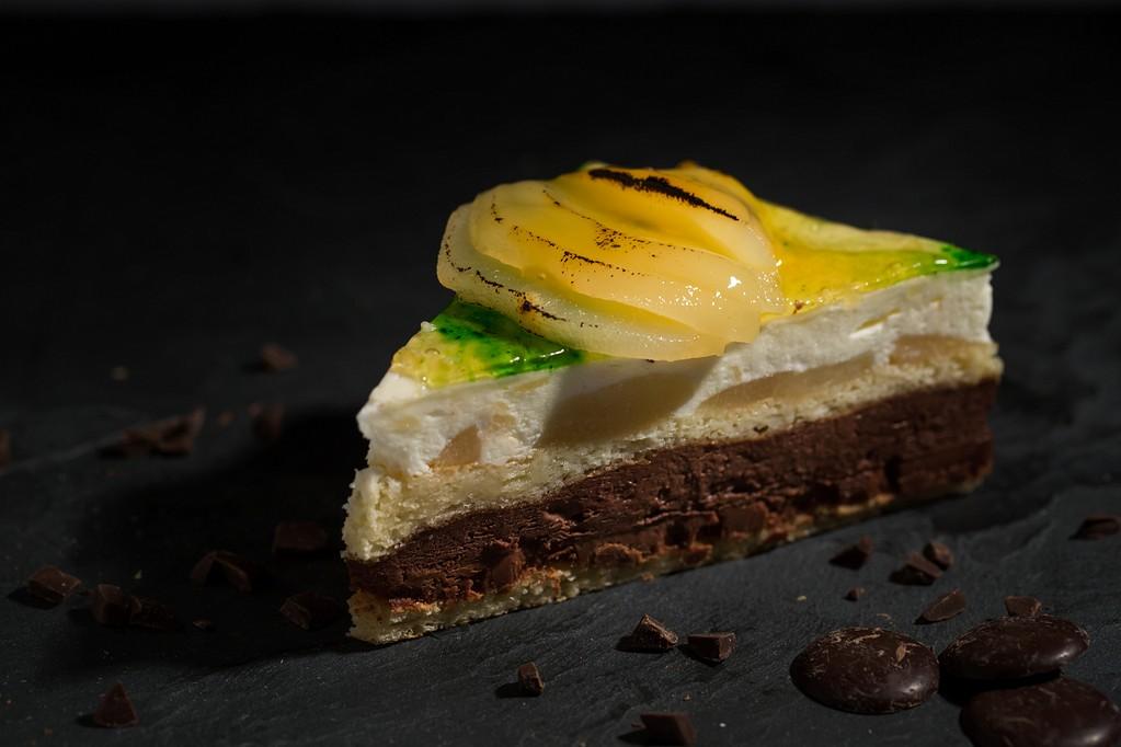Poire chocolat ganache, mousse chocolat - mousse poire salon de the Thierry Voegtling a Bouxwiller 67340